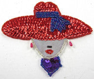 "Ladys Face with Red Sequin Hat 4"" x 4.5"""