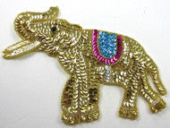 "Elephant with Gold/fuchsia/Turquoise/White Sequins and Beads 6"" X 7.5"""