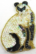 "Cat with Iridescent and Black Sequins and Beads 4"" x 2.5"""