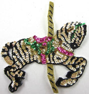 "Zebra Carousel MultiColored Sequins and Beads 7"" x 6"""