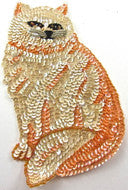 "Cat with Orange and Beige Sequins and Beads  7.25"" x 4.5"""