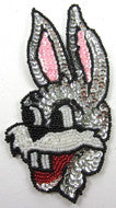 "Rabbit with Silver Pink Beads and Sequins 6"" x 3"""