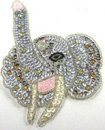 "Elephant with Silver Sequins and Gold Beads 5.75"" X 4"""