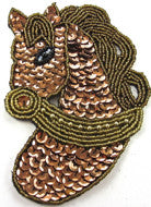 "Horse Head with Bronze and Gold Sequins and Beads 5"" x 3.5"""