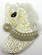 "Horse Head with Iridescent Sequins Silver/White/Black Beads  4.75"" x 3"""