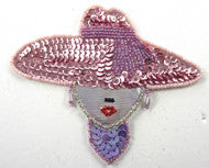 "Lady With Pink Hat, Sequin Beaded  5"" x 4"""