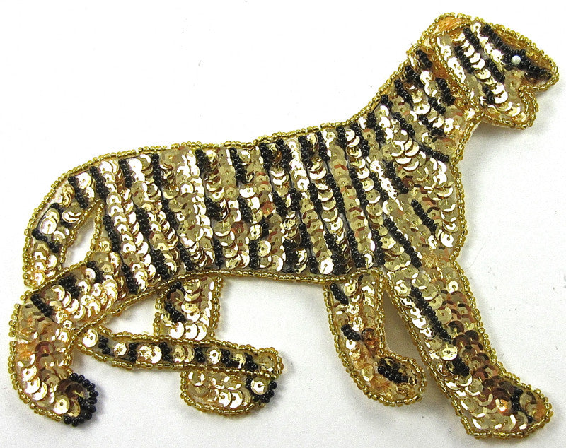 "Tiger with Black and Gold Sequins nd Beads 5.5"" x 7"""