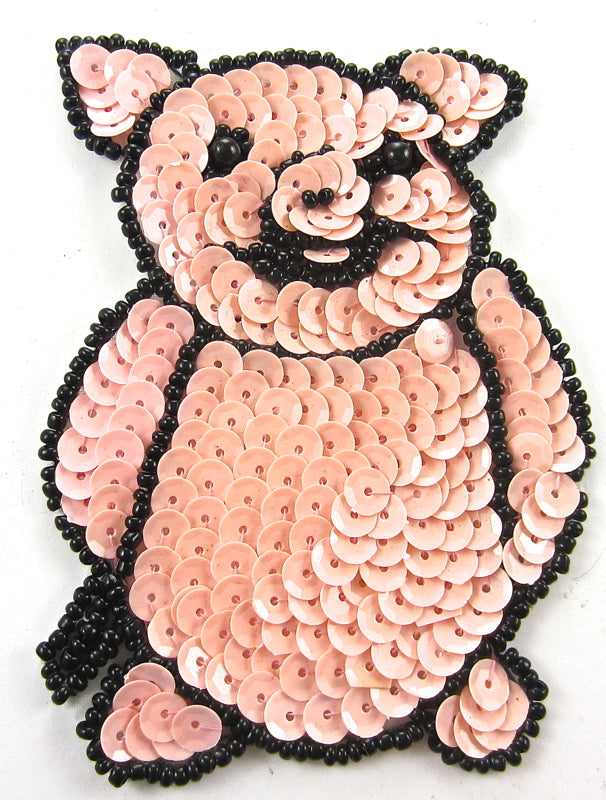 Pig with Pink Sequins and Black Beads