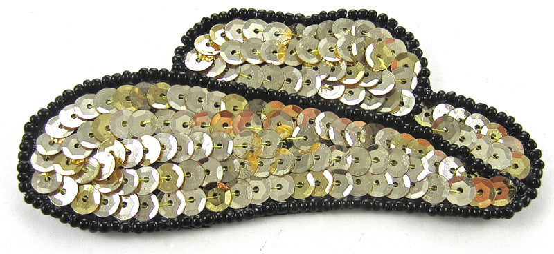 Hat Country Western Cowboy Gold Sequins Black Beads