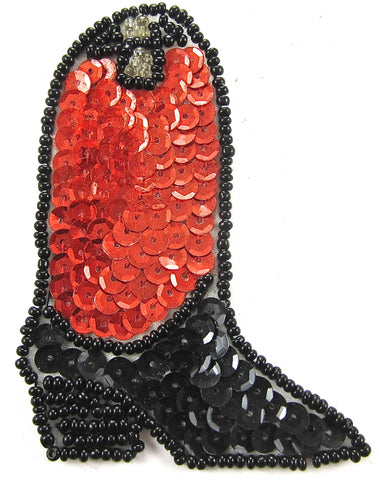 "Boot Country Western Cowboy with Orange and Black Sequins 3.5"" x 2.5"""