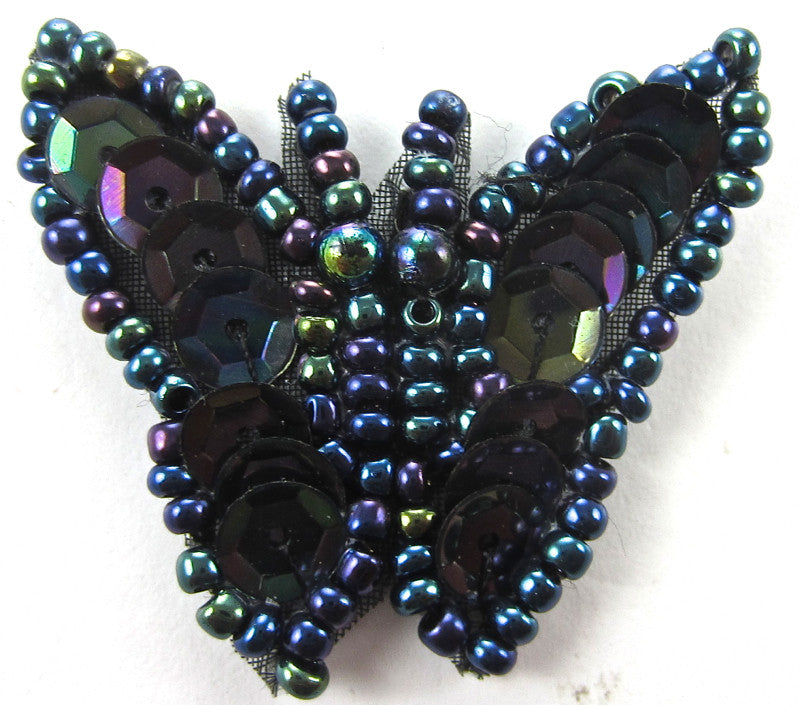 "Butterfly with Moonlight Sequins and Beads 1"" x 1.25"""
