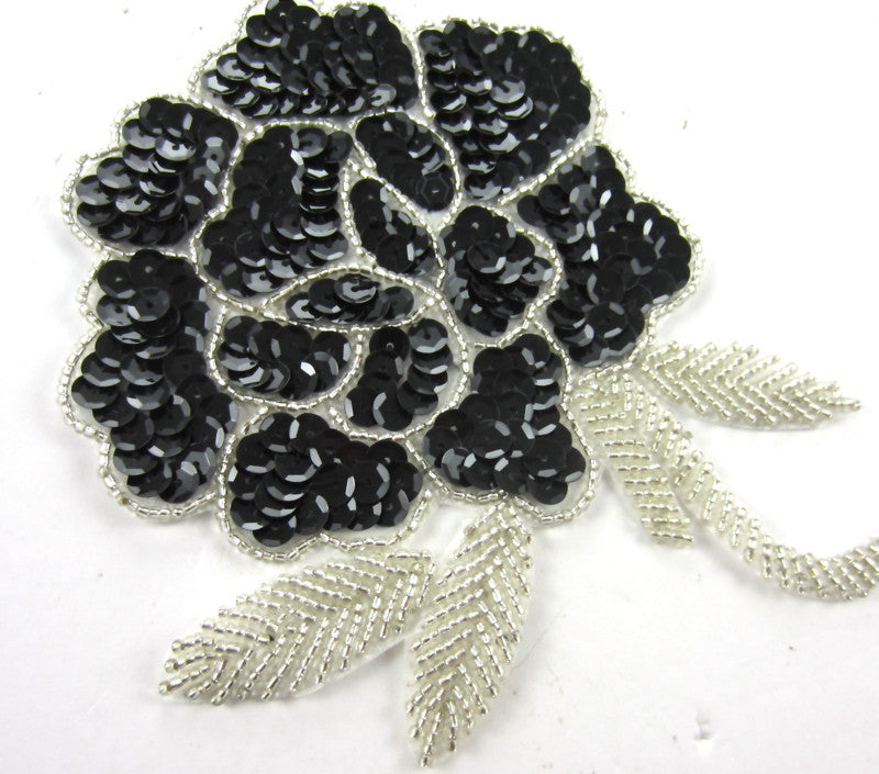 "Flower Rose Black and Silver Sequins and Beads 6"" x 5"""
