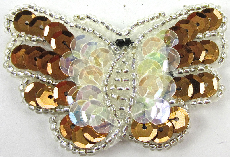 "Butterfly Bronze and Iridescent Sequins and Beads 1.75"" x 2.25"""