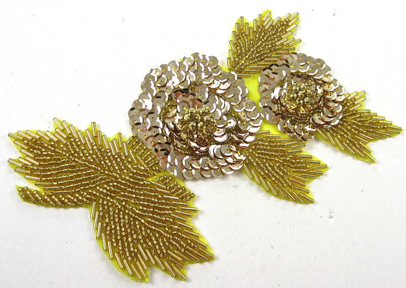 "Flower Gold Sequins and Beads 5"" X 7.5"""