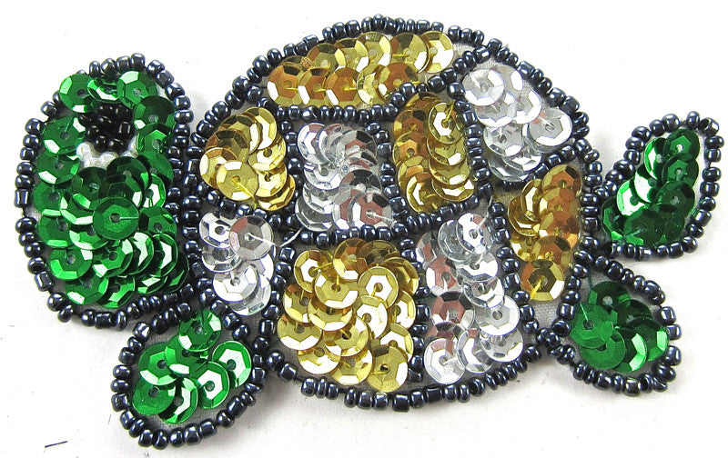"Turtle Green/Gold/Silver Sequins 2"" x 3.25"