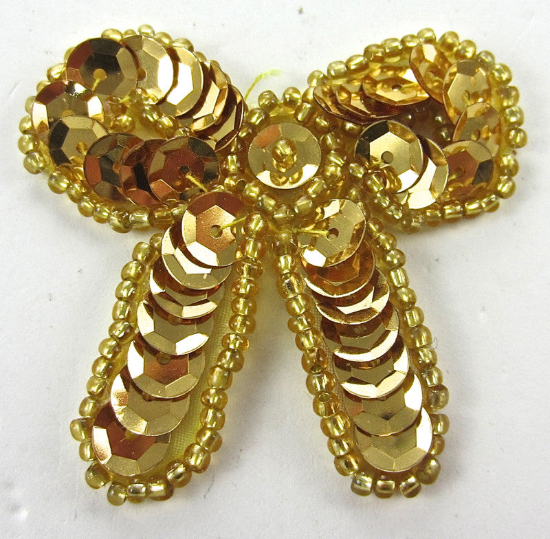 "Bow Gold Sequins and Beads 2"" x 2"""