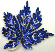"Leaf Blue Sequins with Silver Trim 8"" x 8"""