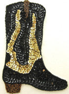 "Boot Cowboy with Black and Gold Sequins and Beads 6.5"" x 4.5"""