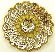 "Motif Flower Round Gold Sequins and Beads 3"" x 3"""