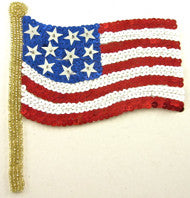 "Flag American with Sequins and Beads 6"" x 5"""