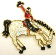"Country Western Horse and Rider  Multicolored Sequins and Beads 6"" x 6.6"""