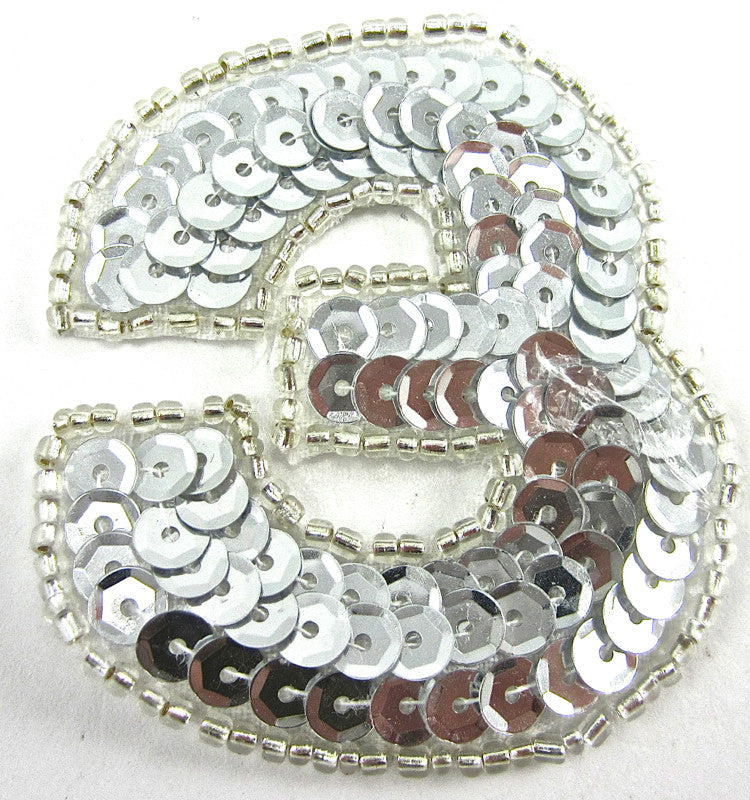 "Number Three Silver 2.25"" x 2"""