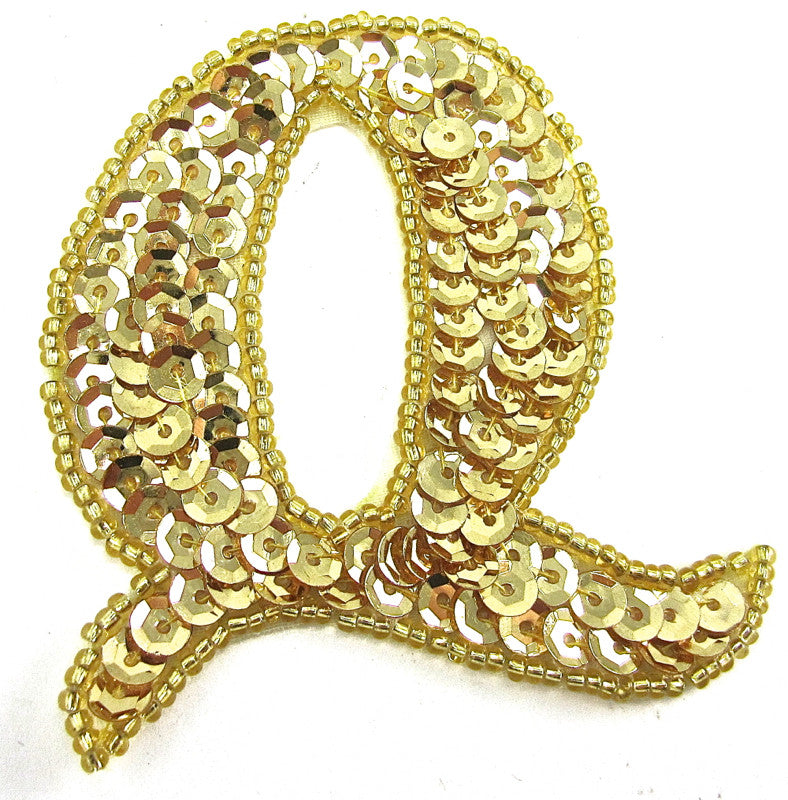 Letter Q with Gold Sequins and Beads 2.5""