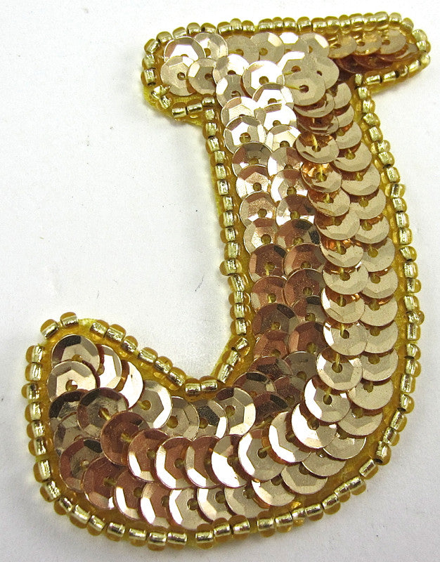Letter J with Gold Sequins and Beads 2.5""