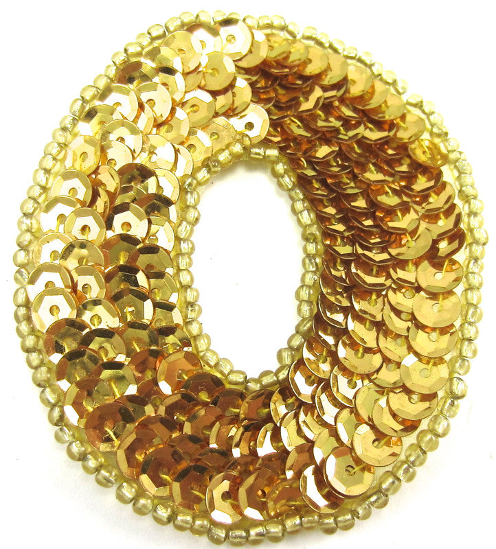 Letter O with Gold Sequins and Beads 2.25""