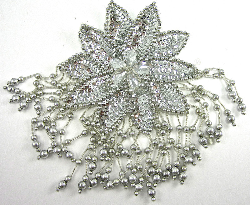 "Flower Epaulet with Silver Sequins and Beads 7.5"" x 5.5"""