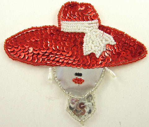 "SALE SALE SALE  Lady with Red Hat Silver Tie White Beads 4"" x 4.5"""