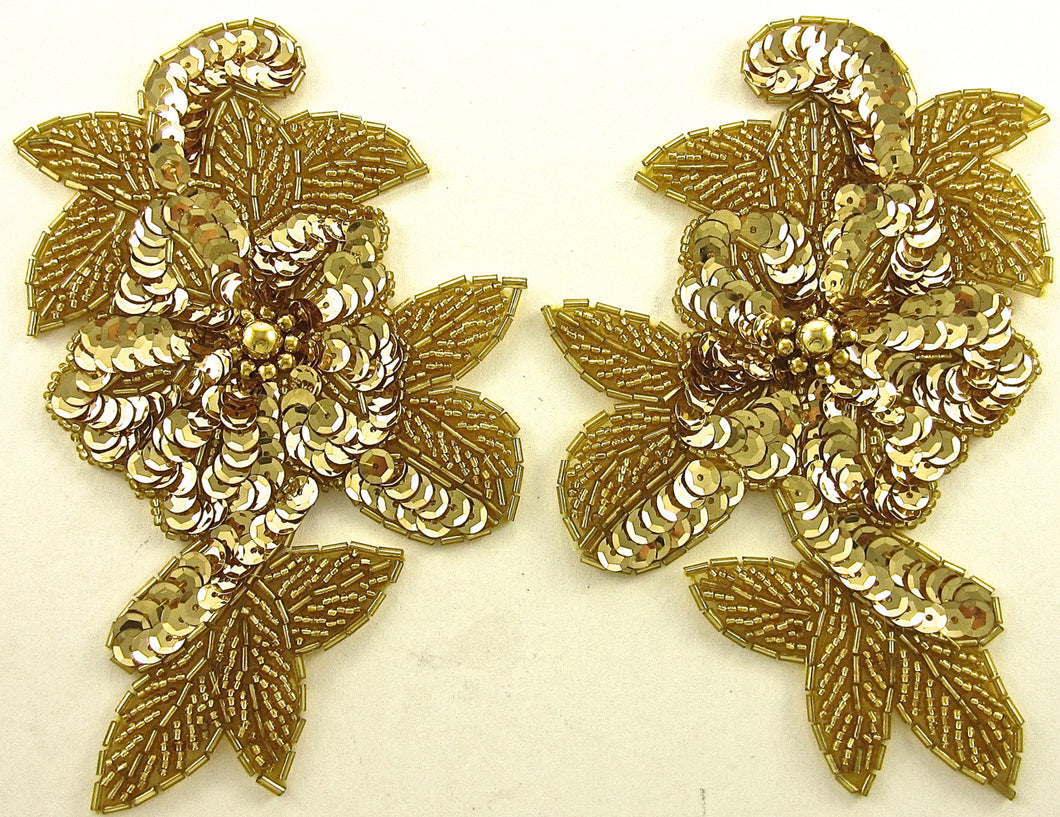 Flower Pair with Gold Sequins and Beads 5.5