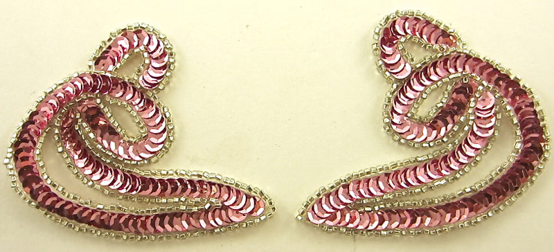 "Designer Motif Twist Pair Pink Sequins and  Silver Beads 3.5"" x 3"""