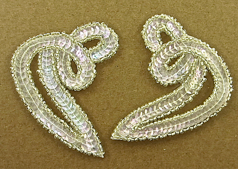 "Designer Motif Twist Pair with Iridescent Sequins Silver Beads 3"" x 2.5"""