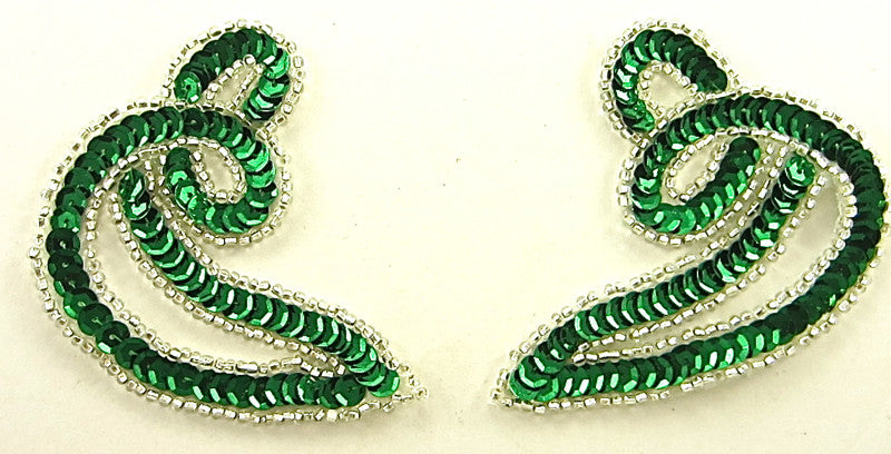 "Designer Motif Twist Pair with Green Sequins Silver Beads 3.5"" x 3"""