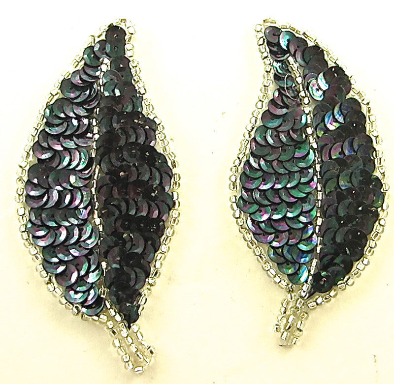"Leaf Pair with Moonlite Sequins and Beads 3.5"" x 2"""
