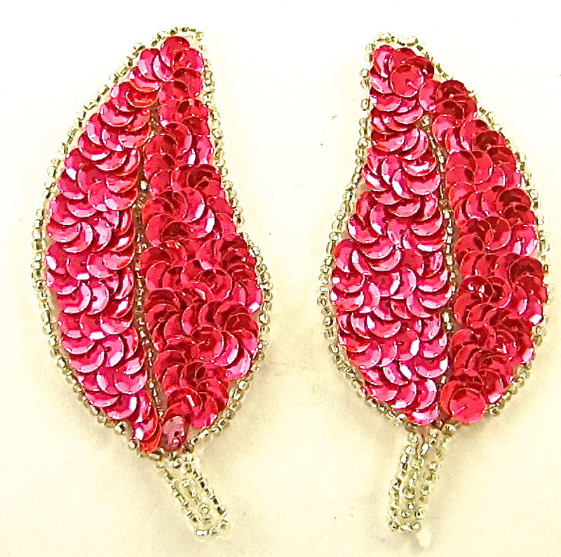 "Leaf Pair with Flourescent  Pink Sequins Silver Beads 3"" x 2.5"""