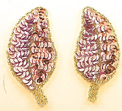 "Leaf  Pair with Lite Mauve Sequins Silver Beads 3.5"" x 2"""