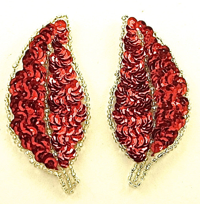 "Leaf Pair with Red Sequins Silver Beads 3"" x 2.5"""