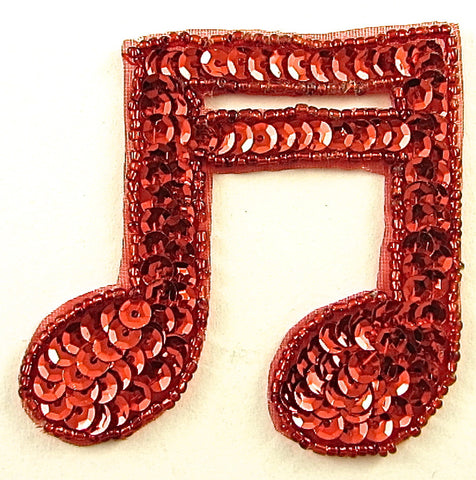 "Double Note with Red Sequins and Beads 3"" x 3"""