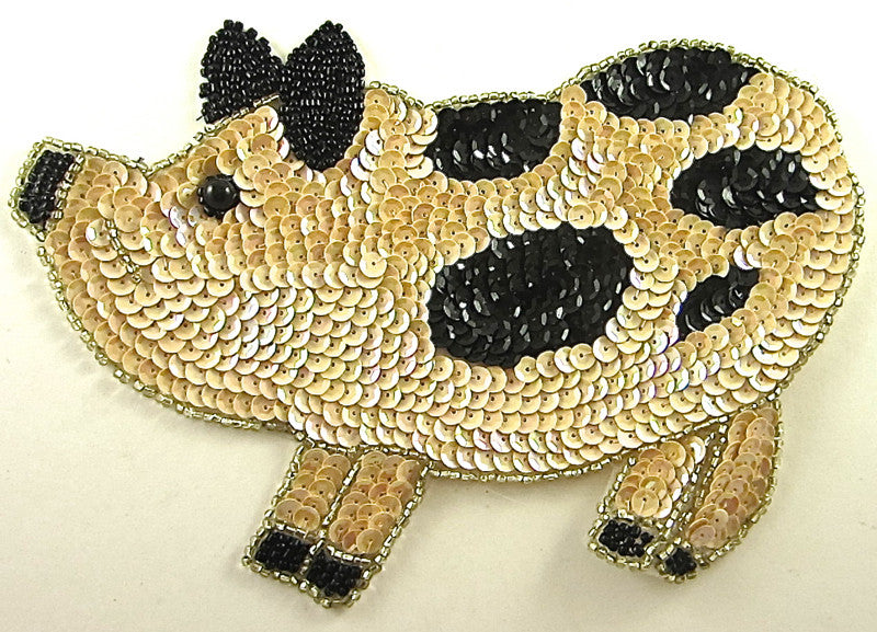 "Pig with Beige and Black Sequins 6"" X 8.5"""