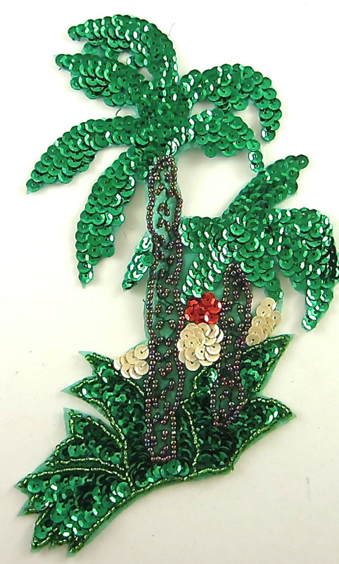 "Palm Tree Green Bronze Red Beige Sequins 7"" x 5.5"""