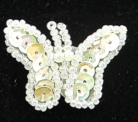 "Butterfly White Sequins and Beads 1"" x 1.5"""