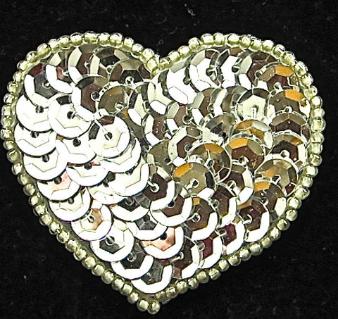 "Heart Silver Cupped Sequins and Beads 1 7/8"" x 2"""