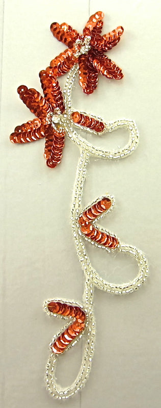 "Flower with Orange Sequins Rhinestones Silver Beads 8"" x 3"""