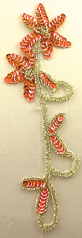 Flower Single with Fluorescent Peach Silver Beads and Rhinestones