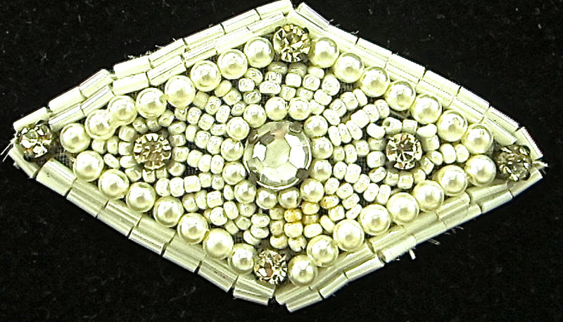 "Designer Motif Triangle with Pearls and Rhinestones White Beads 3"" x 2"""
