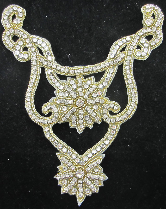 "Designer Motif Neckline with High Quality AB Rhinestones and Gold Beads  8"" x 6.5"""