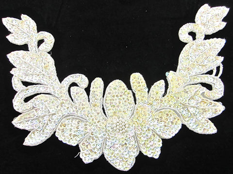 "Flower Neckline with Yellowish Iridescent Sequins and Beads Pre-Glued 8.5"" x 13"""