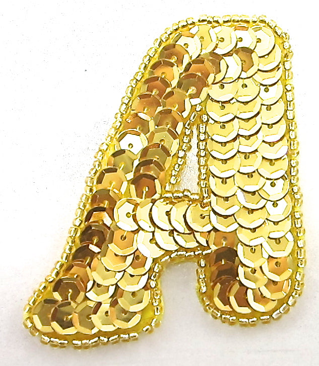 "Letter A  Gold Letter with Sequins and Beads 2.5"" x 2.25"""
